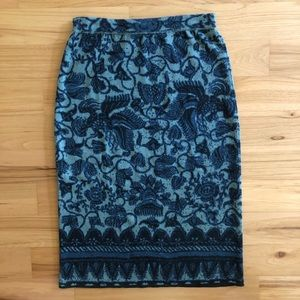 Peruvian Connection tapestry print pencil skirt